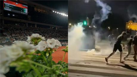 Photomontage montrant à gauche le stade de Roland-Garros dans la soirée du 11 juin, et à droite, des heurts sur l'esplanade des Invalides le soir même.