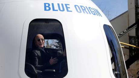 Le fondateur d'Amazon et de Blue Origin, Jeff Bezos, s'adressant aux médias le 5 juin au sujet de sa fusée (image d'illustration).