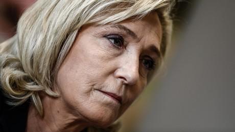 La présidente du Rassemblement national Marine Le Pen lors d'une conférence de presse à Nesle-Hodeng en Normandie le 7 juin 2021 (image d'illustration).