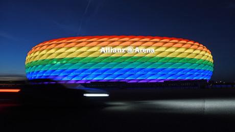 L'Allianz Arena de Munich éclairée aux couleurs LGBT, le 9 juillet 2016 (image d'illustration).