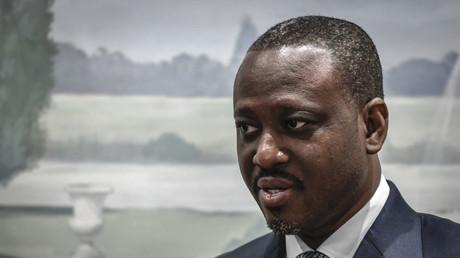 L'ancien Premier ministre ivoirien Guillaume Soro lors d'une conférence de presse à l'hôtel Bristol à Paris le 17 septembre 2020.