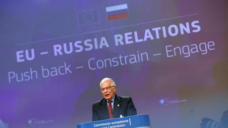 Le haut représentant européen de l'Union pour les Affaires étrangères, Josep Borrell, s'exprime lors d'une conférence de presse au siège de la Commission européenne, à Bruxelles, en Belgique, le 16 juin 2021.