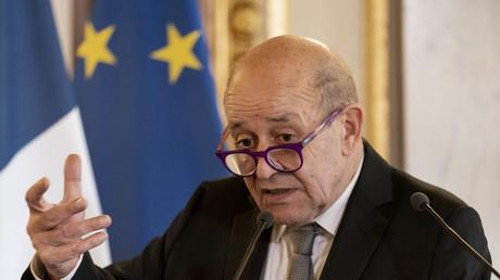 Jean-Yves Le Drian, ministre des Affaires étrangères, lors de la conférence de presse commune avec son homologue étasunien Antony Blinken, le 25 juin 2021 à Paris.
