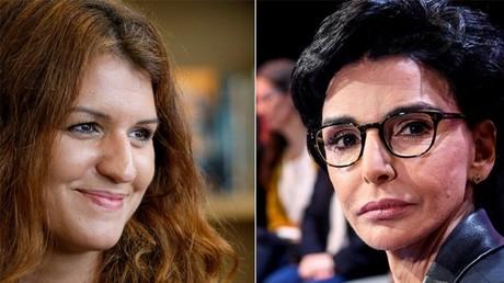La ministre déléguée chargée de l'Intérieur Marlène Schiappa (à gauche) et la maire du VIIe arrondissement de Paris Rachida Dati (à droite).