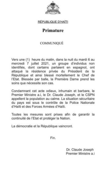 Le président haïtien Jovenel Moïse assassiné dans sa résidence privée