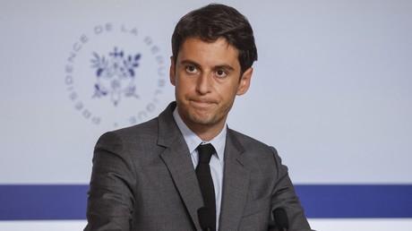 Gabriel Attal lors d'une conférence de presse, à Paris, le 12 mai 2021 (image d'illustration).