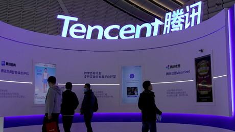Le logo de Tencent au World Internet Conference de Wuzhen, en Chine, le 23 novembre 2020 (image d'illustration)