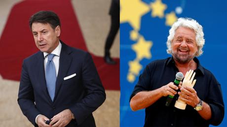 A gauche, l'ancien président du Conseil italien Giuseppe Conte, et à droite Beppe Grillo, fondateur et garant du Mouvement 5 Etoiles.