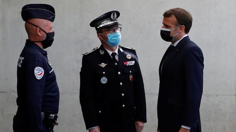 Le président français Emmanuel Macron visite la préfecture de police de Montpellier, dans le sud de la France, le 19 avril 2021. (illustration)