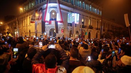 Explosion de joie chez les partisans de Pedro Castillo lors de l'annonce définitive des résultats de l'élection présidentielle à Lima le 19 juillet 2021.