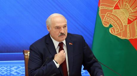 Alexandre Loukachenko, lors de sa conférence de presse le 9 août 2021 à Minsk (image d'illustration).