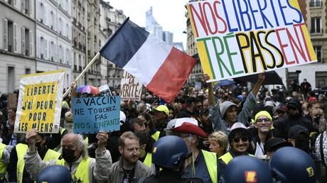 Mobilisation contre le pass sanitaire à Neuilly-sur-Seine, le 7 août 2021 (image d'illustration).