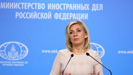 La porte-parole de la diplomatie russe Maria Zakharova s'exprime lors d'une conférence de presse en avril 2021 (image d'illustration).