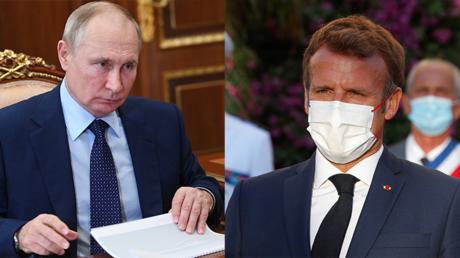 Le président Poutine le 11 août 2021 au Kremlin et Emmanuel Macron le 17 août 2021 (image d'illustration).