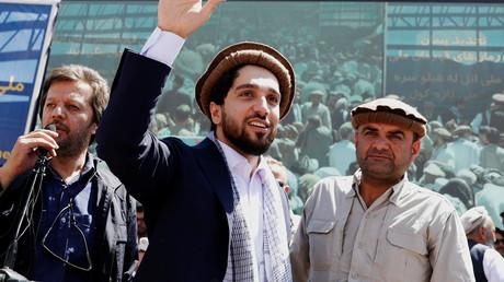 Ahmad Massoud, fils du commandant Massoud, lors d'un rassemblement à Bazarak, dans la province du Panchir (Afghanistan), le 5 septembre 2019.