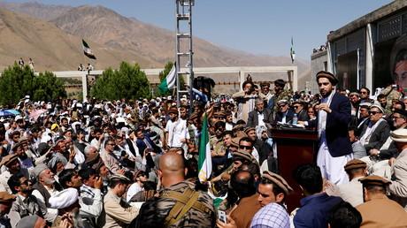 Ahmad Massoud, fils du commandant Massoud, s'adresse à des partisans à Bazarak, dans la province du Panchir, en Afghanistan, le 5 septembre 2019 (image d'illustration).