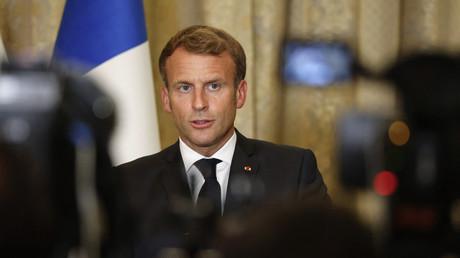 Emmanuel Macron en conférence de presse en Irak le 28 août 2021