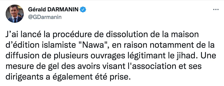 Darmanin souhaite dissoudre une maison d'édition «légitimant le djihad»