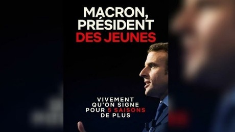 La nouvelle affiche que s'apprêteraient à placarder les Jeunes avec Macron.