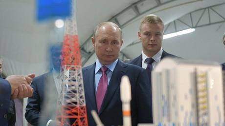Le président russe Vladimir Poutine en visite au cosmodrome Vostotchny (Sibérie), le 3 septembre 2021.