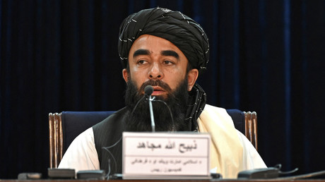 Le porte-parole des Taliban Zabihullah Mujahid lors d'une conférence de presse à Kaboul, le 6 septembre 2021.
