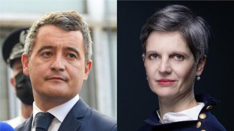 Le ministère de l'Intérieur Gérald Darmanin et la candidate à la primaire écologiste Sandrine Rousseau