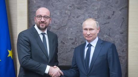 Charles Michel et Vladimir Poutine, en janvier 2018 (image d'illustration).