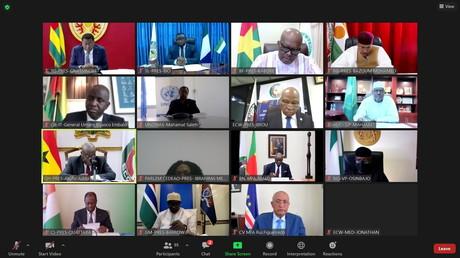 Cliché pris durant le sommet virtuel de la Cédéao sur la situation en Guinée le 8 septembre 2021.