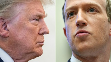 Un montage photo montrant Donald Trump à Washington le 7 décembre 2020, et Mark Zuckerberg dans la même ville, le 23 octobre 2019.