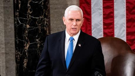 Mike Pence lors d'une session du Congrès, à Washington, le 6 janvier 2021.