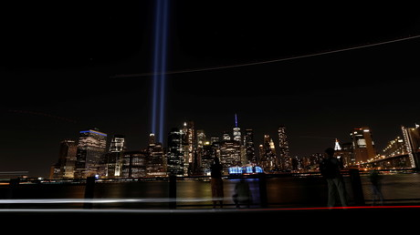 L'hommage en lumière du World Trade Center à l'occasion du 20e anniversaire des attentats du 11 septembre 2001 depuis Brooklyn à New York City, le 11 septembre 2021 (image d'illustration).
