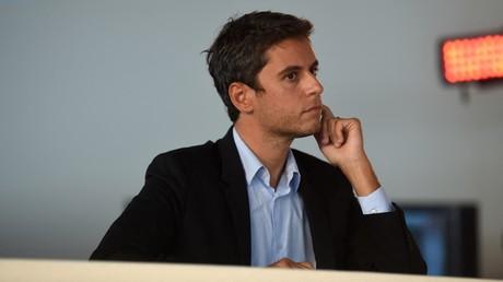Gabriel Attal lors du débat à la Fête de l'Humanité, à La Courneuve, le 11 septembre 2021.