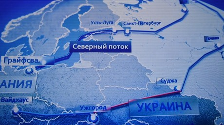 Les intentions de Gazprom vis-à-vis du transit gazier par l'Ukraine (marqué en rouge) apparaissent sans ambiguïté sur cette carte de ses gazoducs présentée à un salon professionnel à Moscou en 2020 (illustration).