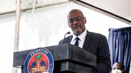 Le Premier ministre Ariel Henry prend la parole lors d'une cérémonie à La Primature à Port-au-Prince, Haïti, le 20 juillet 2021 (image d'illustration).