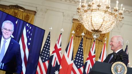 Le président américain Joe Biden en visioconférence avec le Premier ministre australien Scott Morrison à Washington, États-Unis, le 15 septembre 2021.