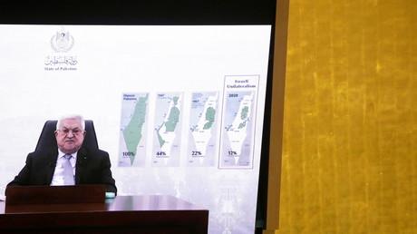 Le président de l'autorité palestinienne Mahmoud Abbas prononce un discours à distance lors du débat général de la 76e session de l'Assemblée générale des Nations Unies, le 24 septembre 2021.