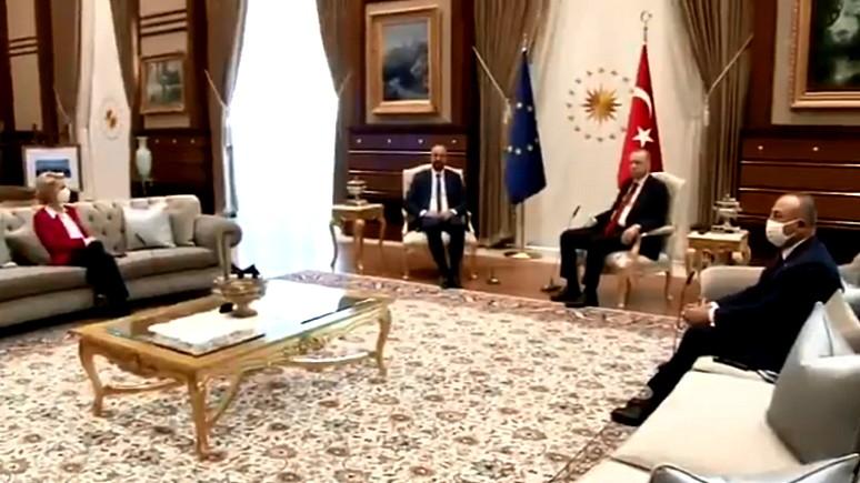 FAZ: турецкий сюрприз — на встрече с Эрдоганом главе Еврокомиссии Урсуле фон дер Ляйен не хватило стула