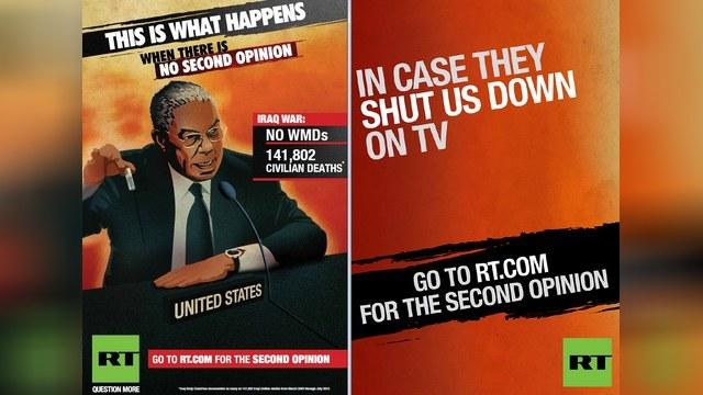 Новая рекламная кампания Russia Today содержит предположение, что канал мог бы предотвратить войну в Ираке