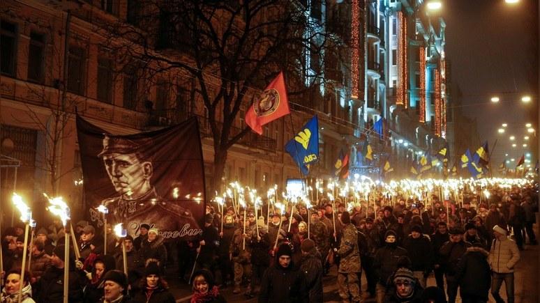 1+1: на Украине день рождения Бандеры отметили факельными шествиями