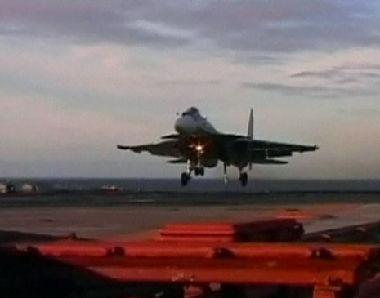 طائرة روسية تهبطت على حاملة الطائرات