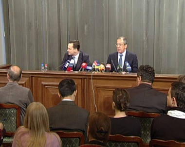 المؤتمر الصحفي لسيرغي لافروف ورادوسلاف سيكورسكي