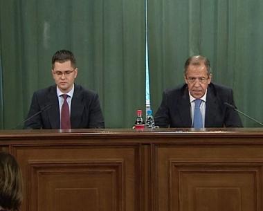 سيرغي لافروف وفوكا يريميتش في مؤتمر صحفي بموسكو