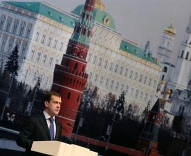 شاب يعرقل كلمة الرئيس الروسي