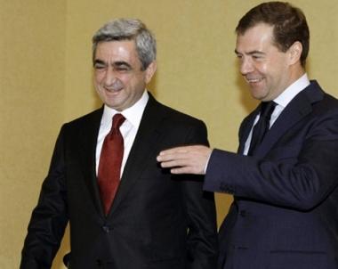 مدفيديف يبحث مع سركيسيان قضايا التعاون التجاري والاقتصادي والعسكري - التقني الثنائي