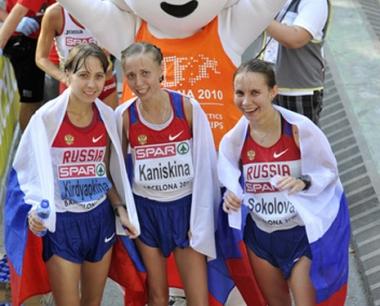الروسية كانيسكينا تتوج بذهبية سباق المشي في برشلونة