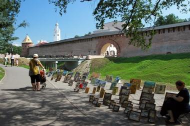 عرض اللوحات عند مدخل كرملين نوفغورود.