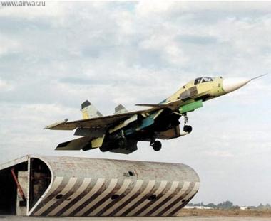 طائرات بحرية روسية تهبط على مدرج اوكراني يمثل حاملات الطائرات
