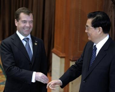 مدفيديف وهو جينتاو ناقشا افاق تطوير الشراكة والتعاون بين روسيا والصين