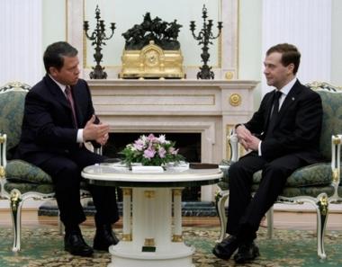 الرئيس دميتري مدفيديف يستقبل في موسكو يوم 7 ابريل/نيسان العاهل الاردني الملك عبد الله الثاني