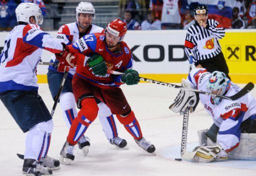 روسيا تفوز على سلوفينيا مستضيفة كأس العالم لهوكي الجليد